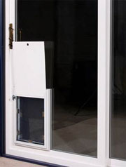 Pet doors with sliding mechanism